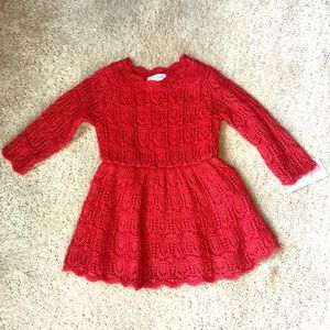 Red Knit Sweater Dress
